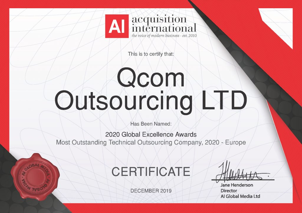 Qcom Outstanding Technical Outsourcing Company Certificate